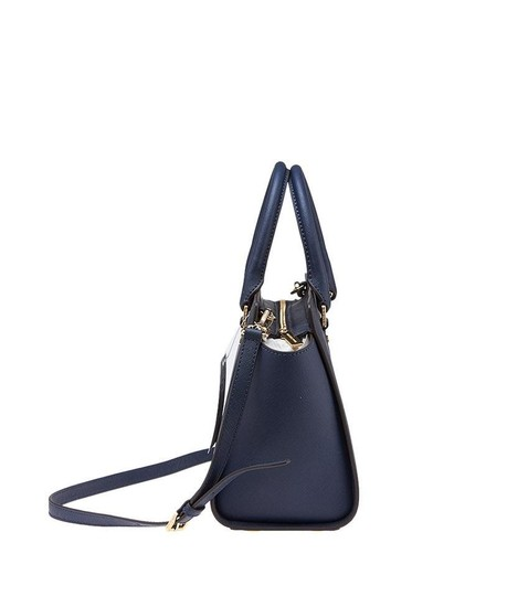 e44f567fe07a Michael Kors Saffiano Leather Selma Mk Selma Satchel in Admiral Navy  Blue/Gold hardware Image