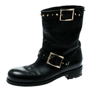 Jimmy Choo Leather Studded Ankle Black Boots