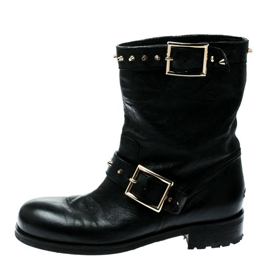 Jimmy Choo Leather Studded Ankle Black Boots Image 1