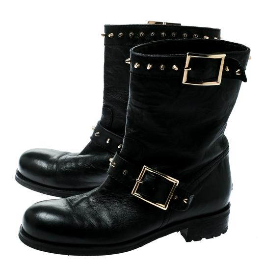 Jimmy Choo Leather Studded Ankle Black Boots Image 2