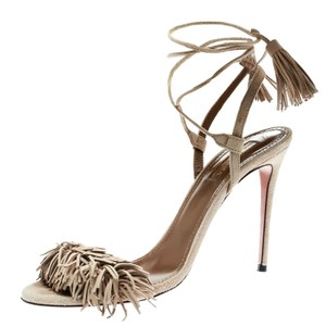 Aquazzura Suede Ankle Leather Beige Sandals
