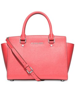 Michael Kors Saffiano Leather Selma Crossbody Satchel in CORAL PINK/SILVER hardware
