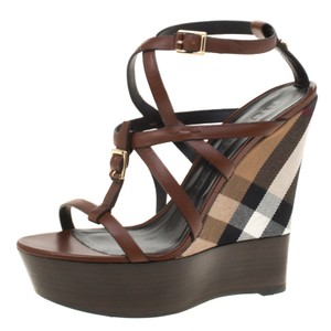 Burberry Leather Platform Ankle Strap Rubber Brown Wedges