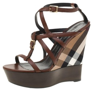 e605def5f8b03 Burberry Leather Platform Ankle Strap Rubber Brown Wedges