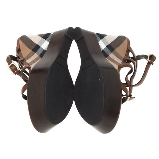 Burberry Leather Platform Ankle Strap Rubber Brown Wedges Image 5