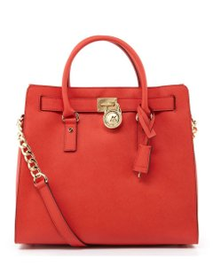 25ebaaeb5415 Michael Kors Mk Hamilton Large Saffiano Leather Lock And Tote in WATERMELON  RED/Gold Hardware