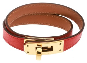 Hermès Kelly Double Tour Orange Leather Gold Plated Wrap Bracelet M