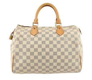 Louis Vuitton Lv Speedy Canvas Damier Azur 30 Tote in White