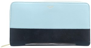 Céline Céline Black&wathet Lambskin Leather Zipper Wallet