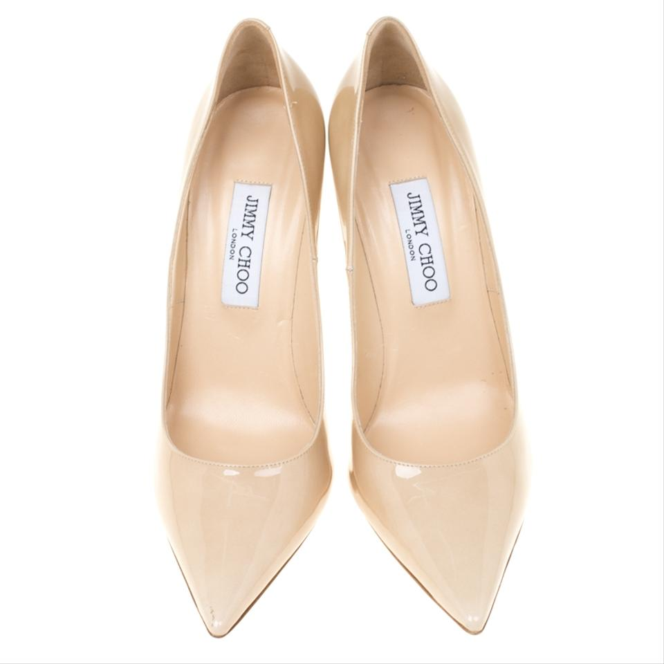 4254ab4e50a Jimmy Choo Patent Leather Pointed Toe Leather Beige Pumps Image 7. 12345678