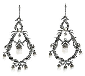 Alexander McQueen Faux Pearl & Crystal Silver Tone Long Drop Earrings