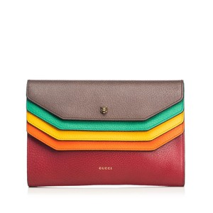 Gucci 9cgucl005 Vintage Leather Brown Clutch