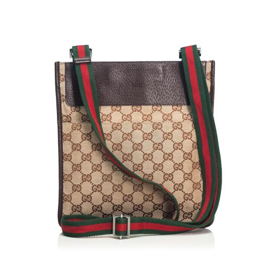 021d27223e1 Gucci Jacquard Fabric Gg Web Italy W Dust Brown Blend Leather Cross ...