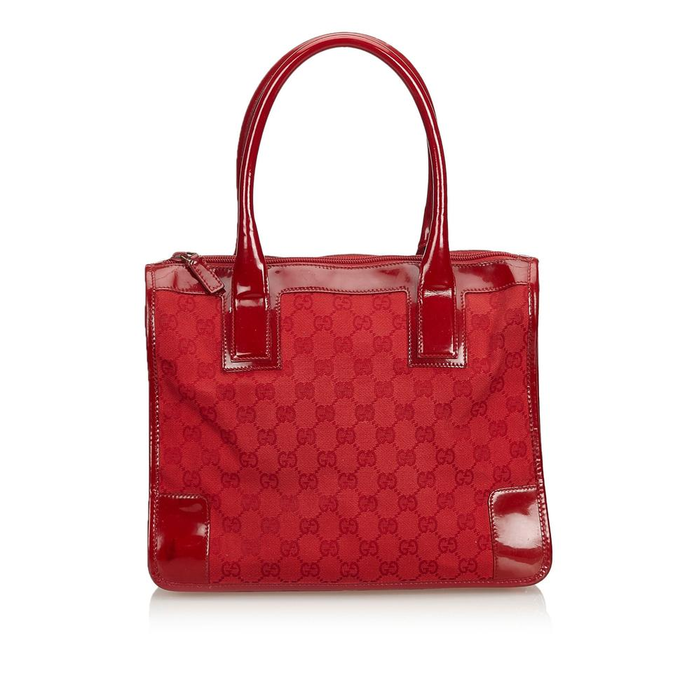 5a1e37dab Gucci Fabric Gg Italy Medium Red Canvas Patent Leather Shoulder Bag ...
