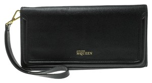 Alexander McQueen Black Leather Trifold Continental Wallet