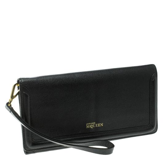 Alexander McQueen Black Leather Trifold Continental Wallet Image 2