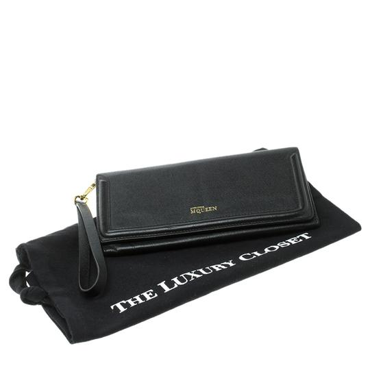 Alexander McQueen Black Leather Trifold Continental Wallet Image 9