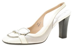Tod's Patent Leather Slingback Rubber Cream Sandals