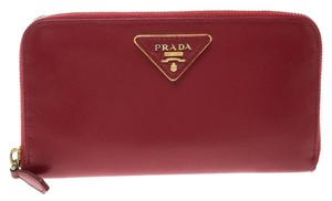 18f88ddf4f423d Prada Red Saffiano Leather Zip Around Wallet