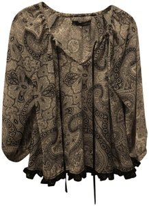 Patterson J. Kincaid Boho Bohemian Top Black & White