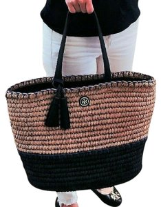 Tory Burch Beach Straw Tote in Natural navy blue