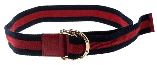 c1455a69727 Gucci Red Navy Blue Red Fabric Bamboo Web 90 Cm Belt - Tradesy