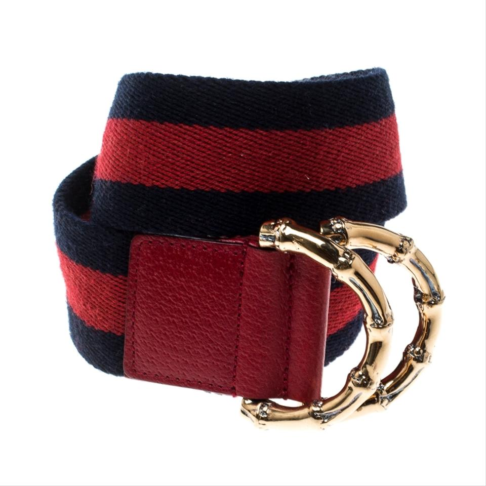 1939b25a023 Gucci Navy Blue Red Fabric Bamboo Web Belt 90 CM Image 5. 123456