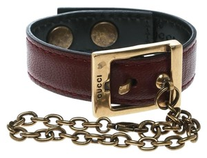 Gucci Maroon Leather Buckle Glove Holder