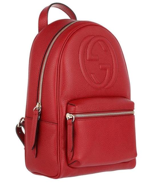 Gucci Soho Gg Logo Tote Red Leather Backpack Gucci Soho Gg Logo Tote Red Leather Backpack Image 1