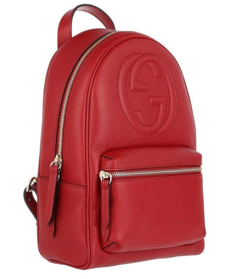 0cce1af65651 Gucci Soho New Gg Logo Tote Red Leather Backpack - Tradesy