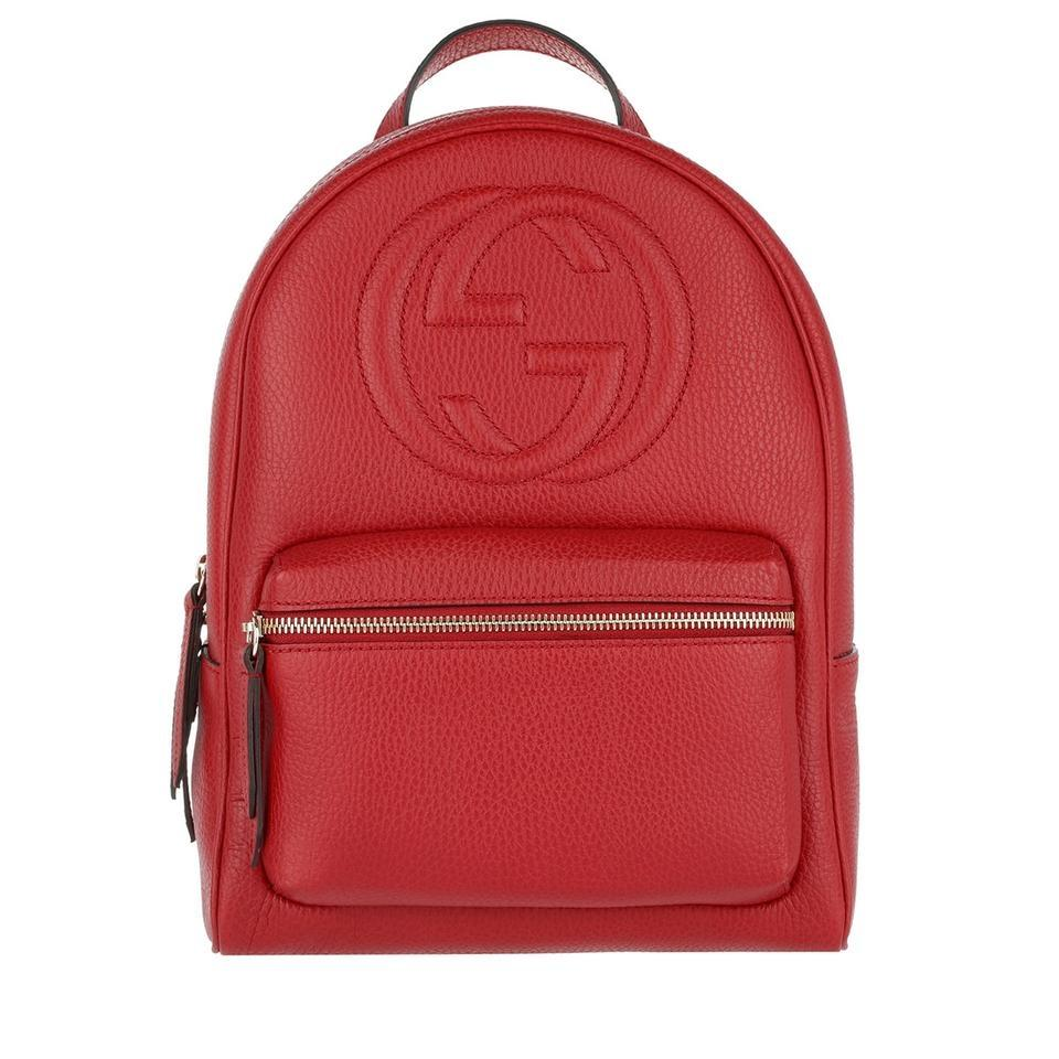 a7c46355026 Gucci Soho New Gg Logo Tote Red Leather Backpack - Tradesy