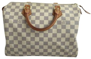 Louis Vuitton Speedy 25 Lv Damier Azur Canvas Lv Speedy Lv Speedy Tote in White