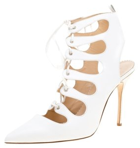 Manolo Blahnik Leather Pointed Toe White Boots