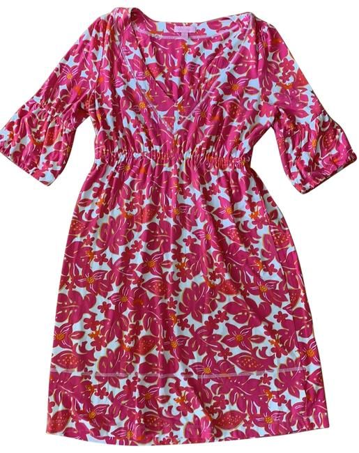Item - Pink White and Orange Floral Knit V Neck Bell Sleeve Mid-length Short Casual Dress Size 6 (S)