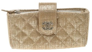 Chanel Gold Quilted Shimmering Leather iPhone Pouch