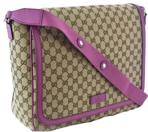 Gucci Gg 510340 Brown/Pink Leather Trim Diaper Bag
