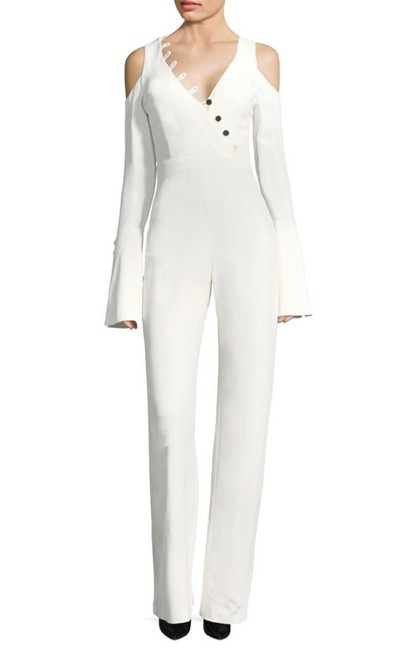 Item - White Bali Button Bell-sleeve Romper/Jumpsuit