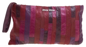 Miu Miu Leather Patchwork Wristlet in Multicolor