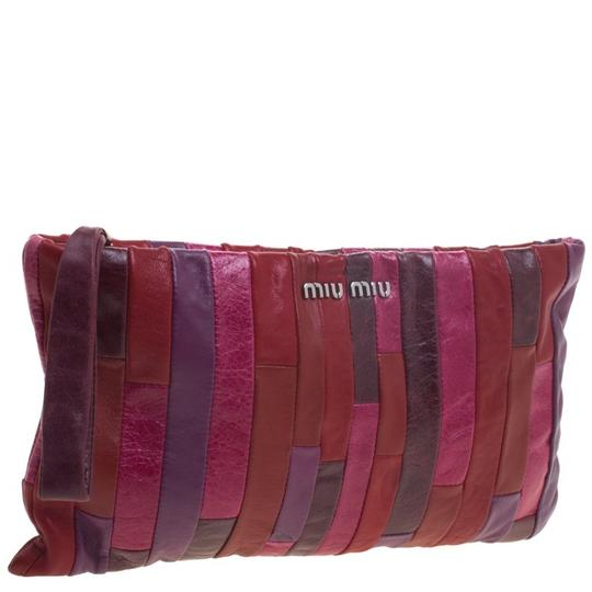 Miu Miu Leather Patchwork Wristlet in Multicolor Image 2