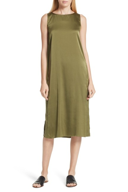 Item - Green Olive Stretch Silk Charmeuse Tank Mid-length Night Out Dress Size 10 (M)