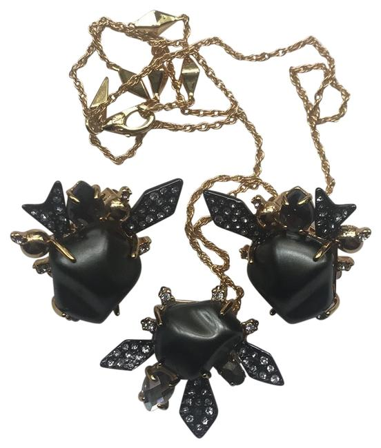 Item - Black Faux Pearl Gold Tone with Crystals & Necklace & Clip Earrings Set