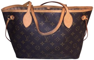 Louis Vuitton Monogram Classic Lv Canvas Leather Tote in Brown