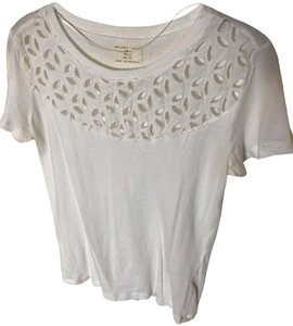 Zara Eyelet Cotton T Shirt cream