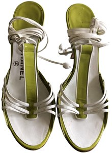Chanel Patent Leather Lace Up Classic Stiletto Green Sandals