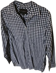 Banana Republic Plaid Button Down Shirt navy and white