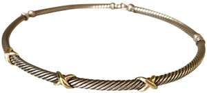 David Yurman 14kt yellow gold and sterling silver cable triple X choker / necklace