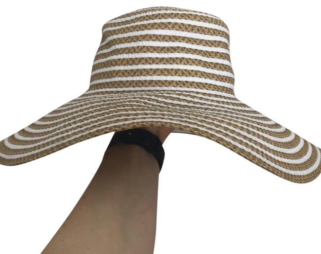 Item - White and Tan Stripped Beach Summer Hat