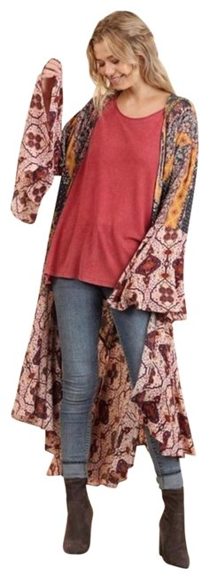Item - Berry Kimono Flower Child Duster Poncho/Cape Size OS (one size)
