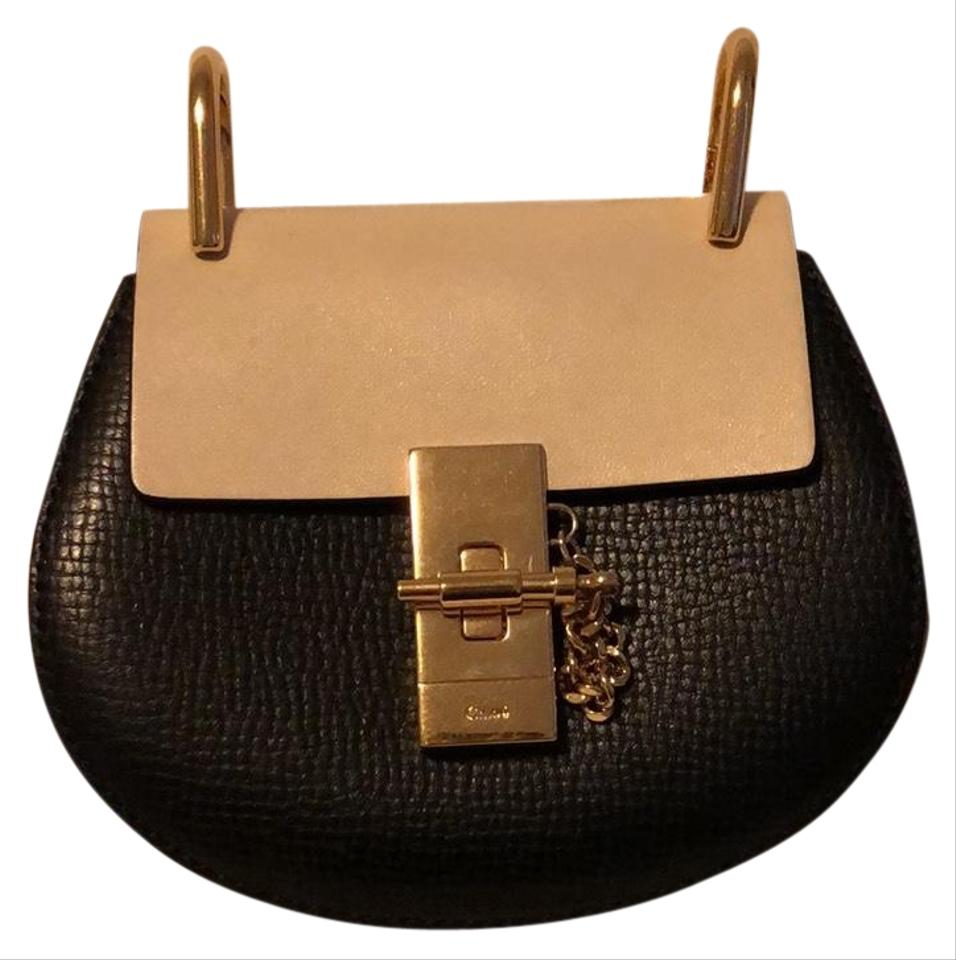 935c5888b Chloé Drew Mini Mixed Material Two Tone Black and Cream Tumbled Leather  Cross Body Bag
