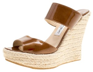 Jimmy Choo Patent Leather Espadrille Brown Wedges